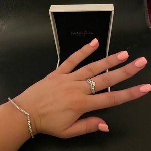 Sparkling Wishbone Bangle & Princess Wishbone Ring
